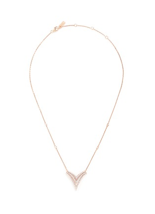 Main View - Click To Enlarge - Messika - 'Queen V PM' diamond 18k rose gold necklace
