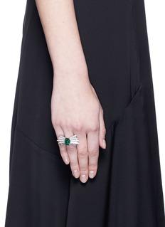 Melville Fine Jewellery 'Northern Light II' diamond pavé tourmaline 18k white gold ring