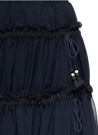 Detail View - Click To Enlarge - SEE BY CHLOÉ - Drawstring ruffle tier crepe skirt