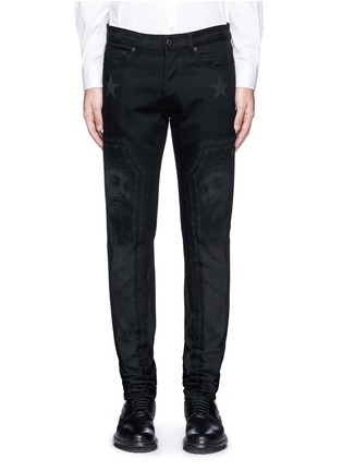 Detail View - Click To Enlarge - Givenchy - Barb wire Jesus print slim fit jeans
