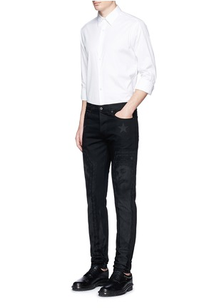 Figure View - Click To Enlarge - Givenchy - Barb wire Jesus print slim fit jeans
