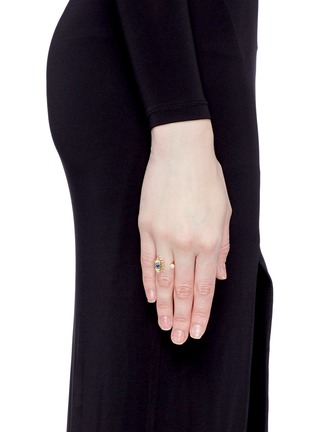 Figure View - Click To Enlarge - Delfina Delettrez - 'Eyes On Me Piercing' diamond and sapphire 18k gold ring
