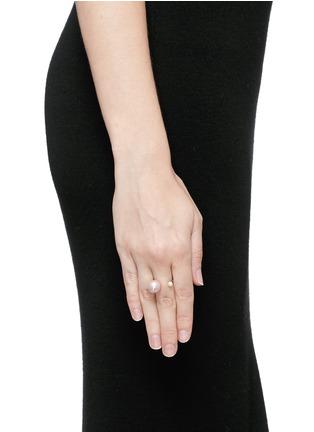 Figure View - Click To Enlarge - Delfina Delettrez - 'Pearl Piercing' diamond 18k white gold ring