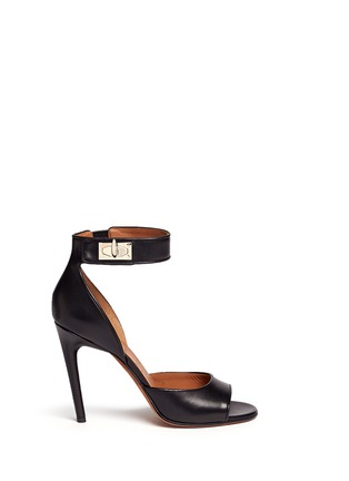 Main View - Click To Enlarge - Givenchy - Shark tooth turn lock leather sandals