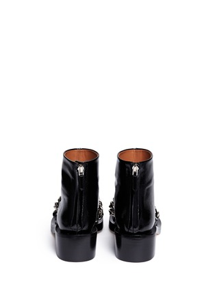Back View - Click To Enlarge - Givenchy - Chunky chain saffiano leather ankle boots