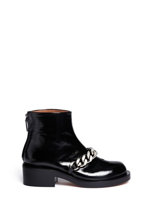 Main View - Click To Enlarge - Givenchy - Chunky chain saffiano leather ankle boots