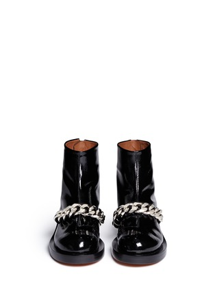 Figure View - Click To Enlarge - Givenchy - Chunky chain saffiano leather ankle boots