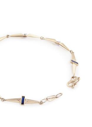 Detail View - Click To Enlarge - MONIQUE PÉAN - Sapphire diamond 18k recycled white gold trapezoid link bracelet