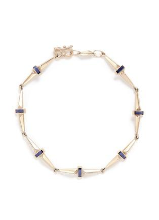 Main View - Click To Enlarge - MONIQUE PÉAN - Sapphire diamond 18k recycled white gold trapezoid link bracelet