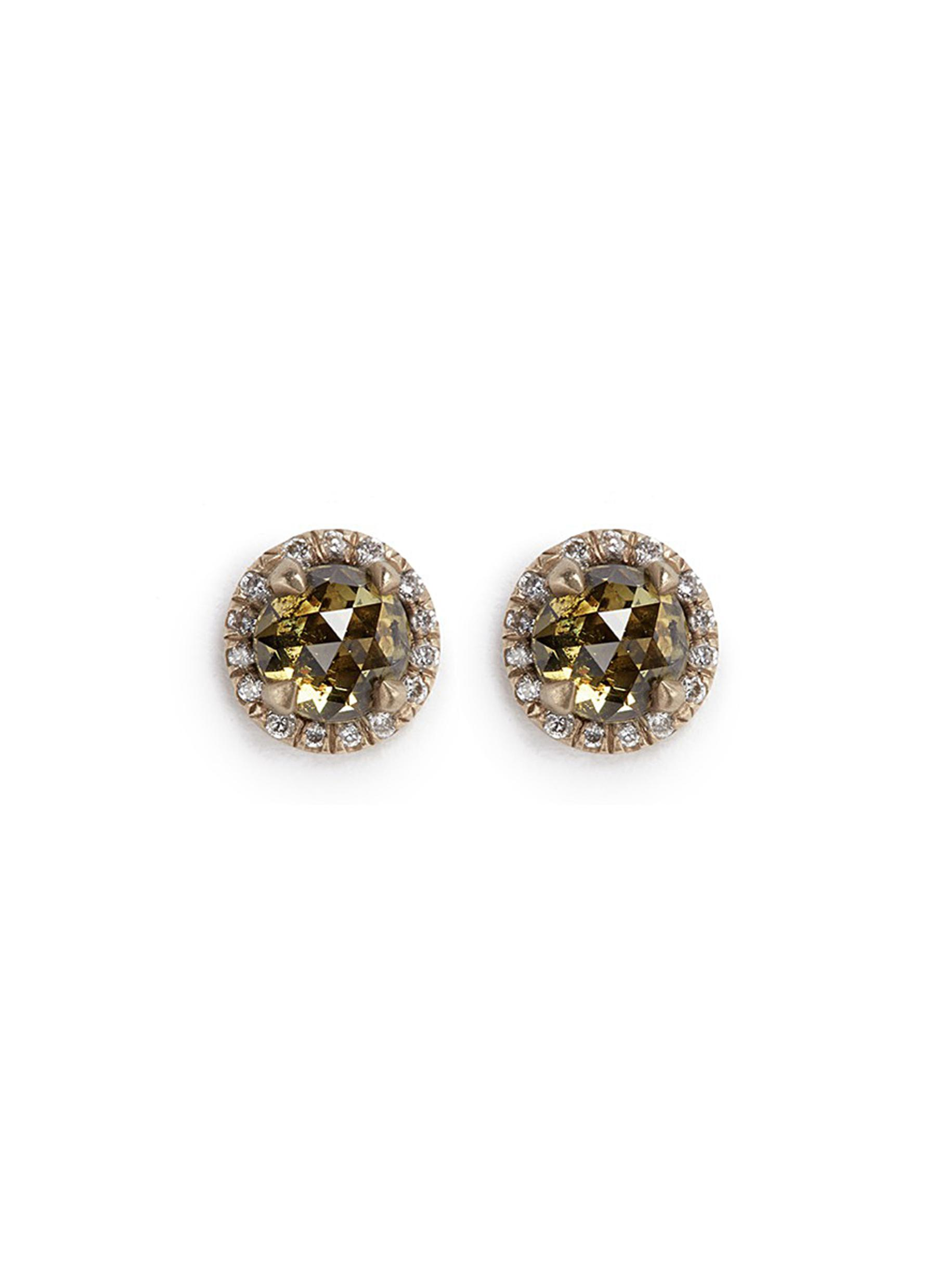MONIQUE PÉAN 'Atelier' Halo Diamond 18K Recycled Gold Stud Earrings