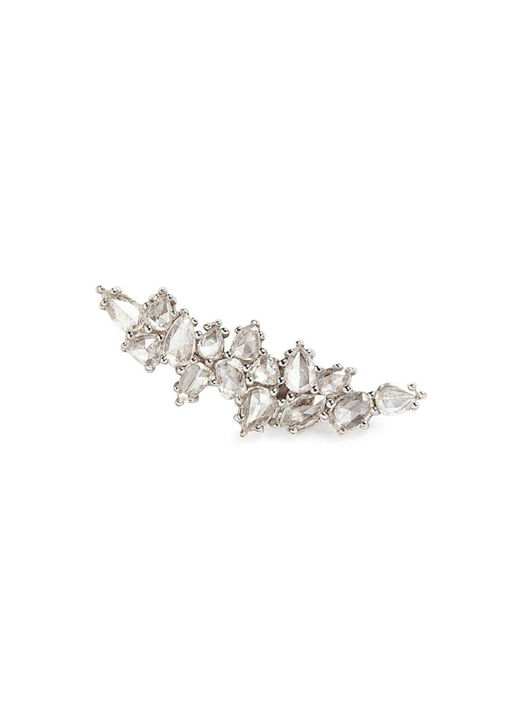 MONIQUE PÉAN 'Atelier' Diamond 18K White Gold Single Climber Earring