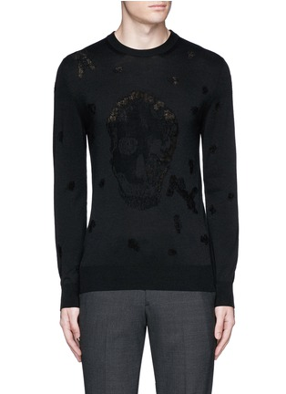 Main View - Click To Enlarge - Alexander McQueen - Distressed skull wool-cotton sweater