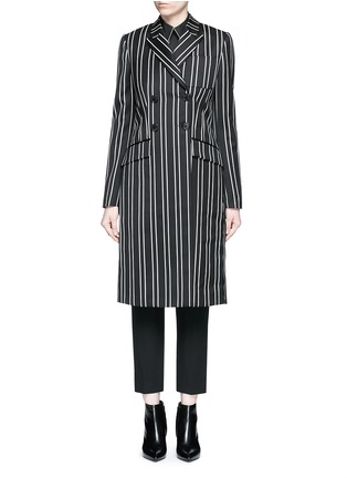 Main View - Click To Enlarge - Givenchy - Stripe wool double breasted side split side coat