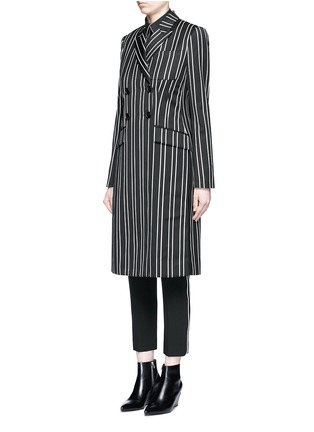 Figure View - Click To Enlarge - Givenchy - Stripe wool double breasted side split side coat