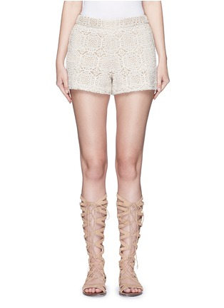Main View - Click To Enlarge - alice + olivia - 'Susi' geometric Crochet lace shorts