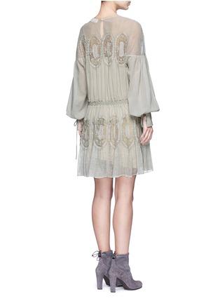 Back View - Click To Enlarge - Chloé - Geometric lace trim drawstring waist dress