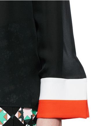 Detail View - Click To Enlarge - Emilio Pucci - Stripe cuff boat neck georgette top