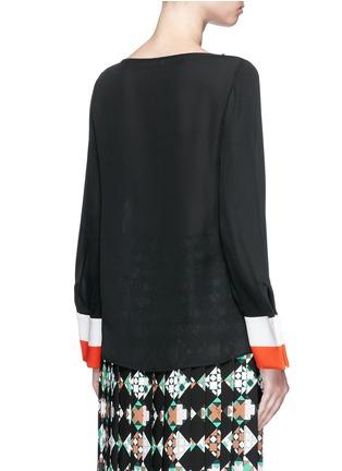 Back View - Click To Enlarge - Emilio Pucci - Stripe cuff boat neck georgette top