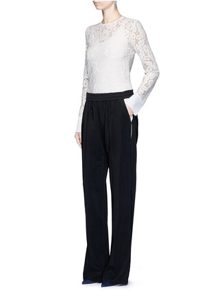 Figure View - Click To Enlarge - LANVIN - Contrast pocket stripe elastic twill pants