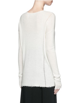 Back View - Click To Enlarge - Helmut Lang - Frayed wool knit sweater