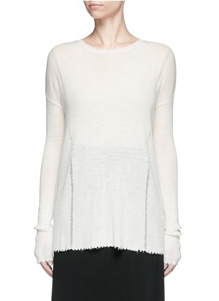 Main View - Click To Enlarge - Helmut Lang - Frayed wool knit sweater