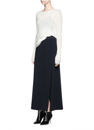 Figure View - Click To Enlarge - HELMUT LANG - Side drape stretch maxi skirt
