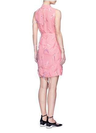 Back View - Click To Enlarge - Emilio Pucci - Ostrich feather embroidery tie waist dress