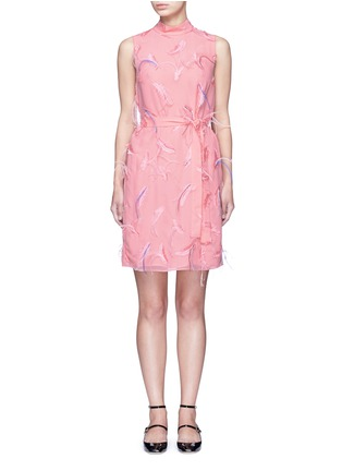 Main View - Click To Enlarge - Emilio Pucci - Ostrich feather embroidery tie waist dress