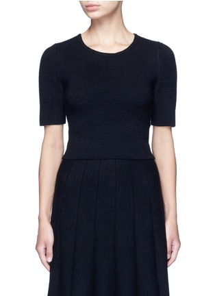 Main View - Click To Enlarge - ALICE + OLIVIA - 'Rhodes' horizontal ottomanknit cropped top