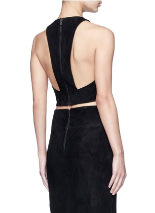 Back View - Click To Enlarge - alice + olivia - Lambskin suede racerback cropped top