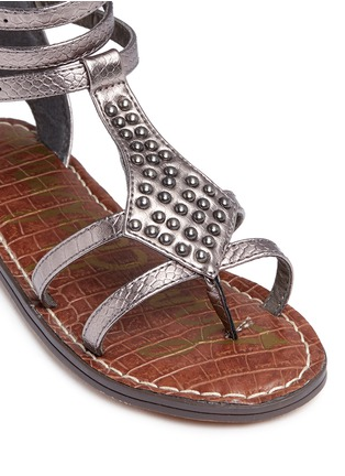 Detail View - Click To Enlarge - SAM EDELMAN - 'Amber' stud snakeskin embossed kids sandals