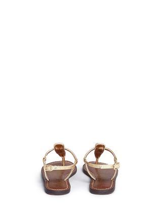 Back View - Click To Enlarge - Sam Edelman - 'Gigi' iridescent croc embossed T-strap kids sandals