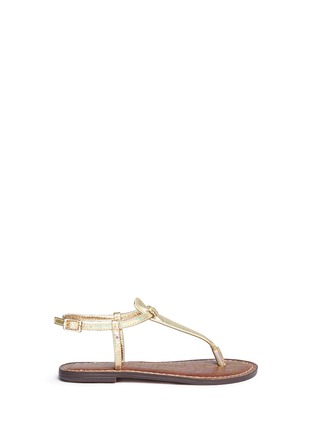 Main View - Click To Enlarge - Sam Edelman - 'Gigi' iridescent croc embossed T-strap kids sandals