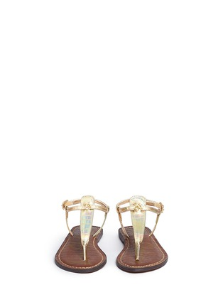 Figure View - Click To Enlarge - Sam Edelman - 'Gigi' iridescent croc embossed T-strap kids sandals