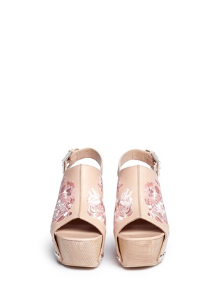 Front View - Click To Enlarge - Alexander McQueen - 'Spitalfields' embroidered leather wooden clog sandals