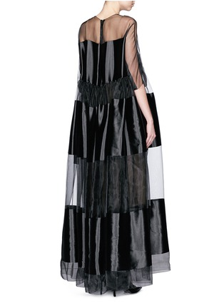 Back View - Click To Enlarge - Ms MIN - Stripe gathered waist silk dress