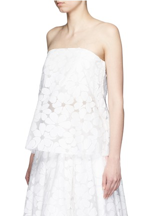 Front View - Click To Enlarge - Ms MIN - Floral paper appliqué organza strapless top