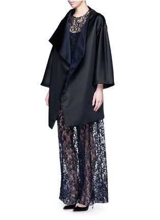 Figure View - Click To Enlarge - MS MIN - Reversible silk satin blanket coat