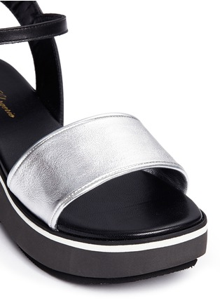 Detail View - Click To Enlarge - CLERGERIE - 'Penny' metallic leather band flatform sandals
