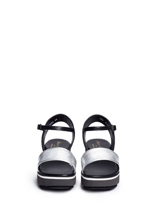 Front View - Click To Enlarge - CLERGERIE - 'Penny' metallic leather band flatform sandals