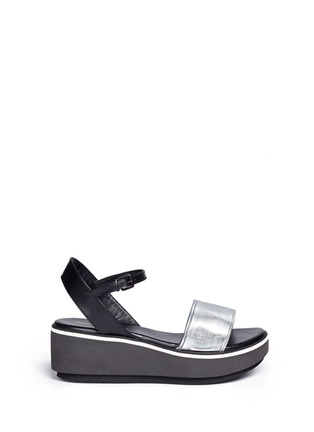 Main View - Click To Enlarge - CLERGERIE - 'Penny' metallic leather band flatform sandals