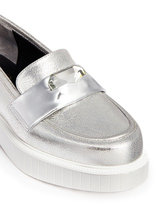 Detail View - Click To Enlarge - Robert Clergerie - 'Peyruk' jewel metallic leather platform penny loafers