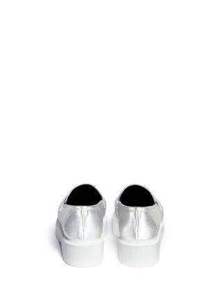 Back View - Click To Enlarge - Robert Clergerie - 'Peyruk' jewel metallic leather platform penny loafers