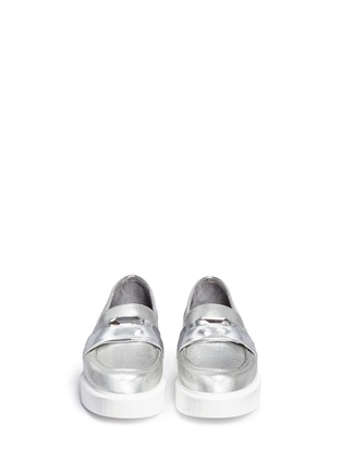 Front View - Click To Enlarge - Robert Clergerie - 'Peyruk' jewel metallic leather platform penny loafers