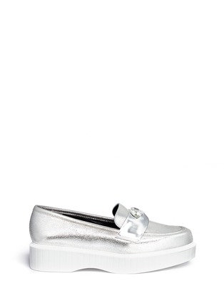 Main View - Click To Enlarge - Robert Clergerie - 'Peyruk' jewel metallic leather platform penny loafers