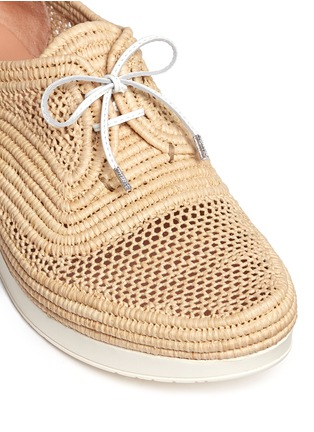 Detail View - Click To Enlarge - Robert Clergerie - 'Vicolek' braided raffia wedge lace-ups