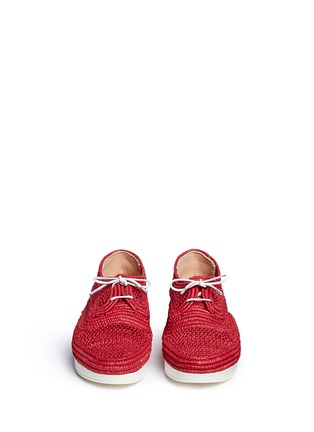 Front View - Click To Enlarge - Robert Clergerie - 'Vicolek' braided raffia wedge lace-ups