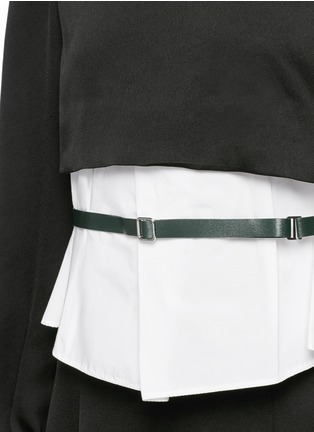 Detail View - Click To Enlarge - TOGA ARCHIVES - Front belt poplin insert taffeta crepe top