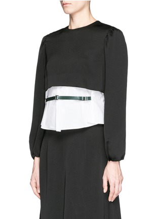 Front View - Click To Enlarge - TOGA ARCHIVES - Front belt poplin insert taffeta crepe top