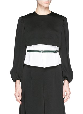 Main View - Click To Enlarge - TOGA ARCHIVES - Front belt poplin insert taffeta crepe top